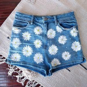 Urban Outfitters Blue Denim Daisy High Rise Shorts